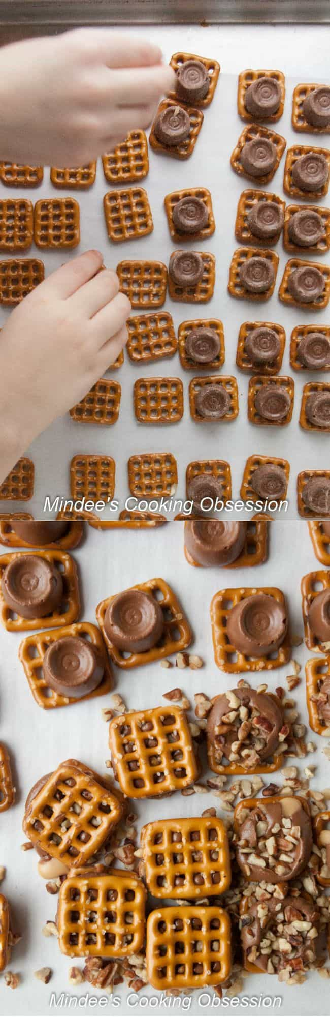 Pretzels lined up across a sheet pan and then topped with unwrapped rolos.