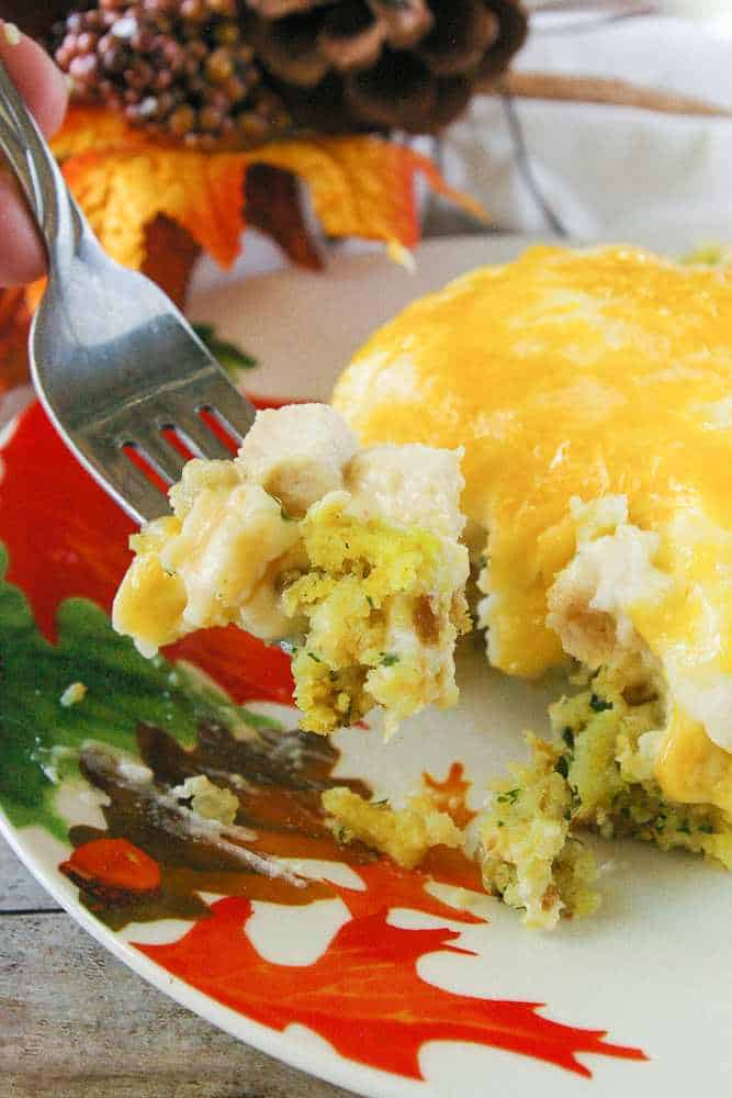 A serving of thanksgiving casserole.
