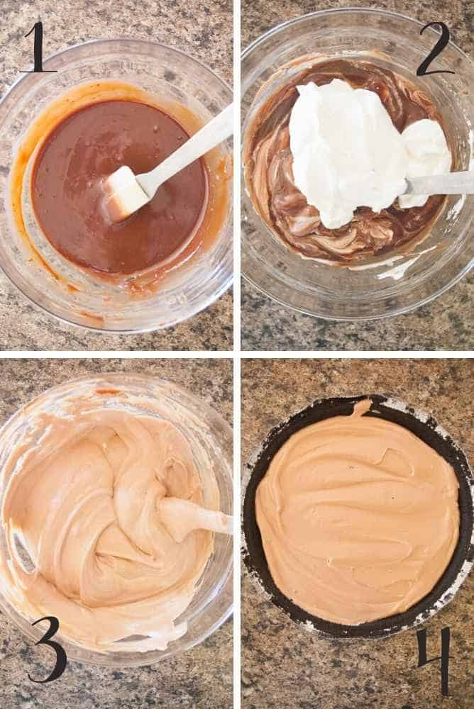 Collage of steps for chocolate mousse pie.