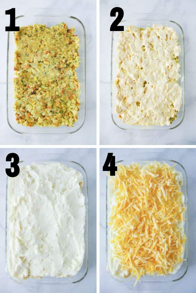 Collage of steps to make this after thanksgiving casserole.