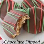 Pinnable image 1 for chocolate dipped peanut butter ritz.
