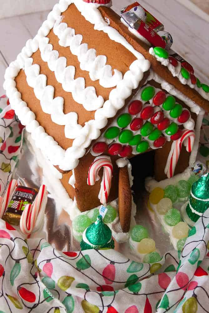 A finished gingerbread house.