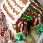 A decorated gingerbread house.