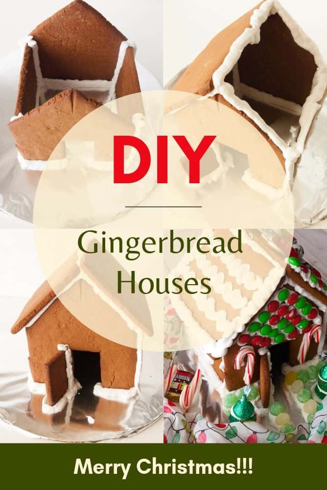 A collage picture of steps for gingerbread houses.