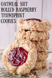 Oatmeal Nut Rolled Raspberry Thumbprint Cookies