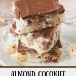 Pinnable image 1 for Almond Coconut Macaroon Bars