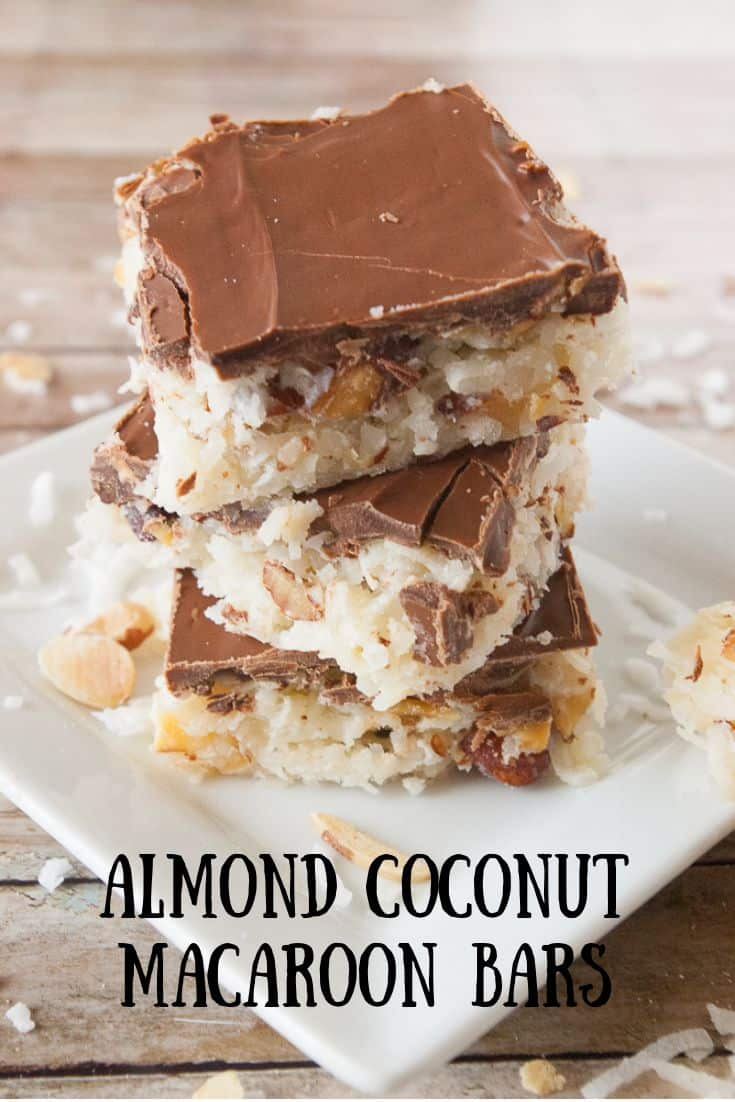Pinnable image 3 for almond coconut macaroon bars.
