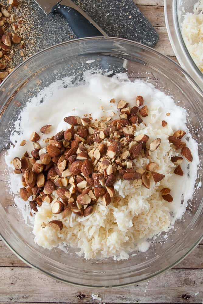 Almonds and coconut mixture ready to be folded into the egg whites.