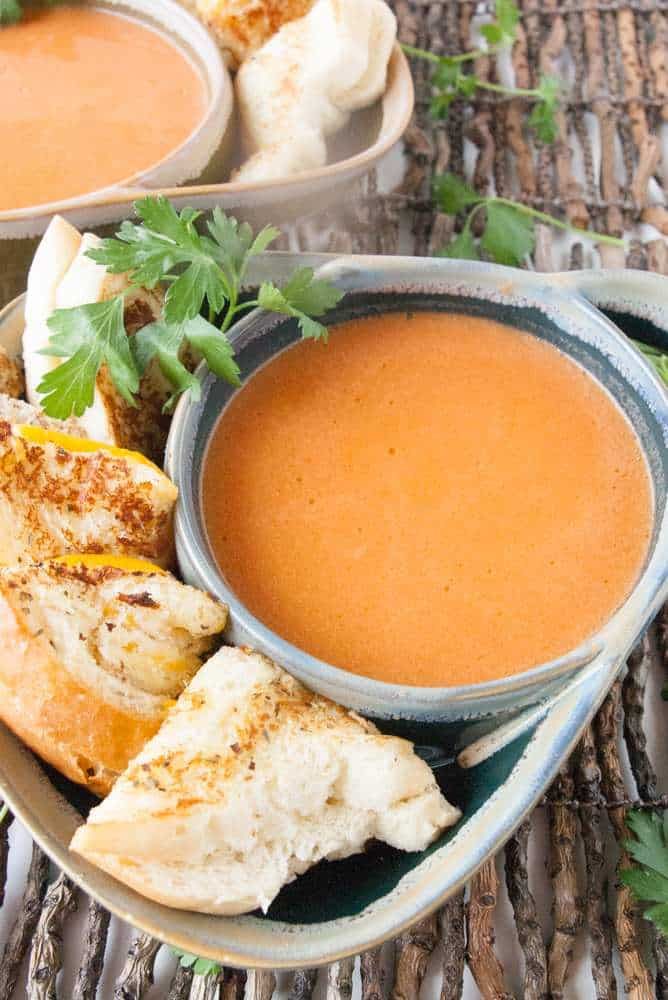 Tomato soup with grilled cheese sandwiches.