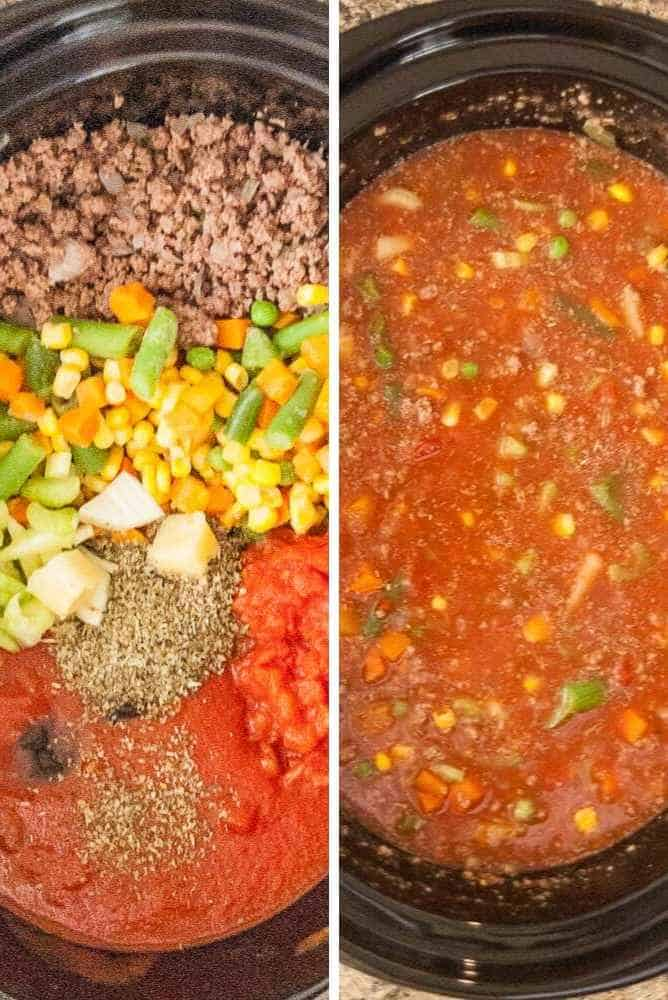 Collage of steps for veg beef soup.