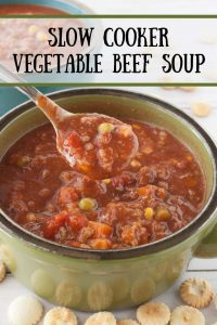 Pinnable image 1 for veg beef soup.