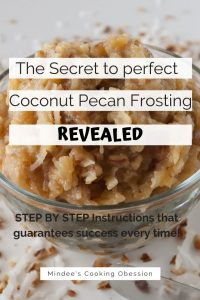 Pinnable image 4 for coconut pecan frosting.