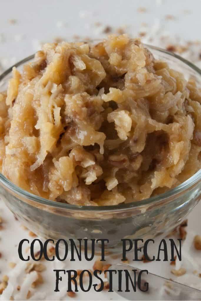 Coconut Pecan Frosting pinnable image
