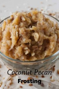 Pinnable image 1 for coconut pecan frosting.