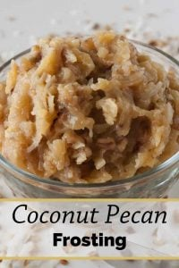 Pinnable image 5 for coconut pecan frosting.