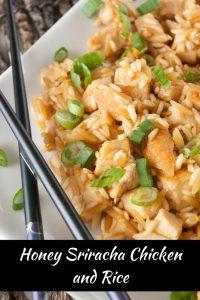 Honey Sriracha Chicken and Rice pinnable image.