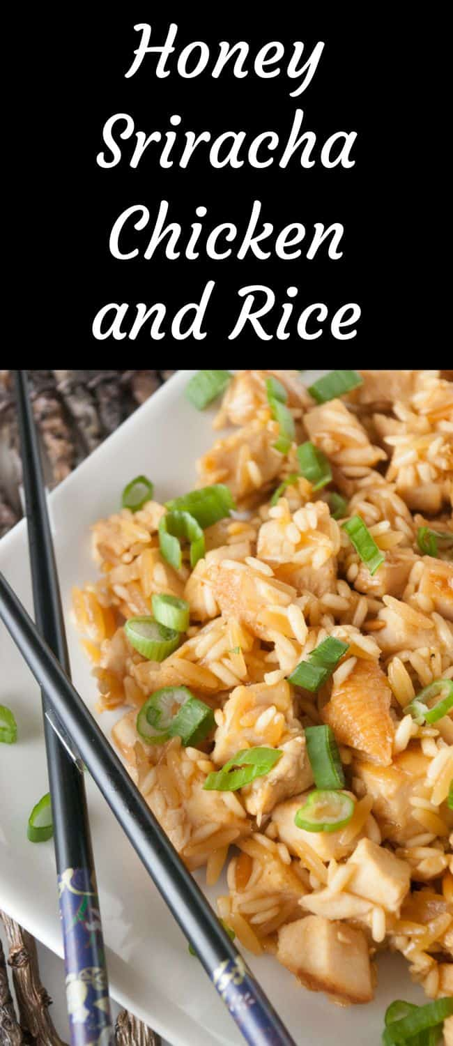 Honey Sriracha Chicken and Rice-Add a kick to dinner with my one pan honey sriracha chicken and rice!  Quick, easy and just the right amount of spicy heat.