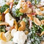 Close up of this broccoli ranch cashew salad.