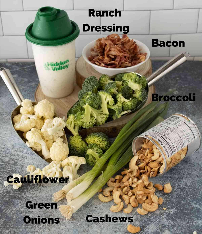 Ingredients for this broccoli cauliflower salad.