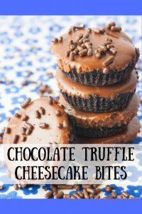 Chocolate truffle Cheesecake Bites pinnable image.