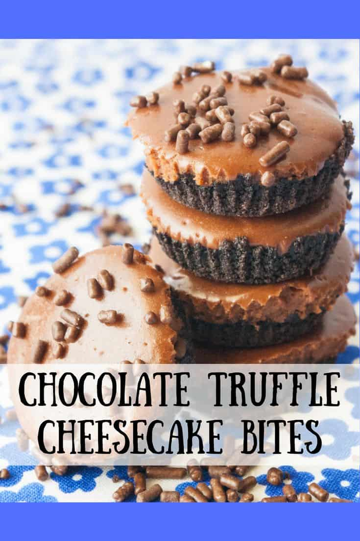 Chocolate Truffle Cheesecake Bites- Attention Chocolate Lovers!!!  This one's for you!  Lose yourself in these rich chocolate truffle cheesecake bites!  Need I say more?