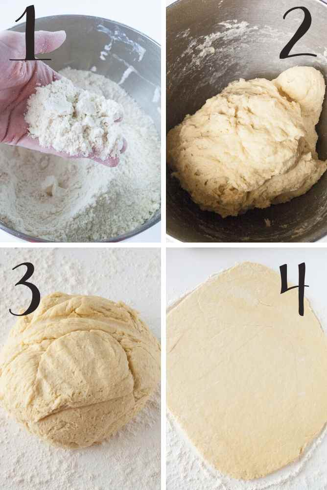 Steps to make danish dough.