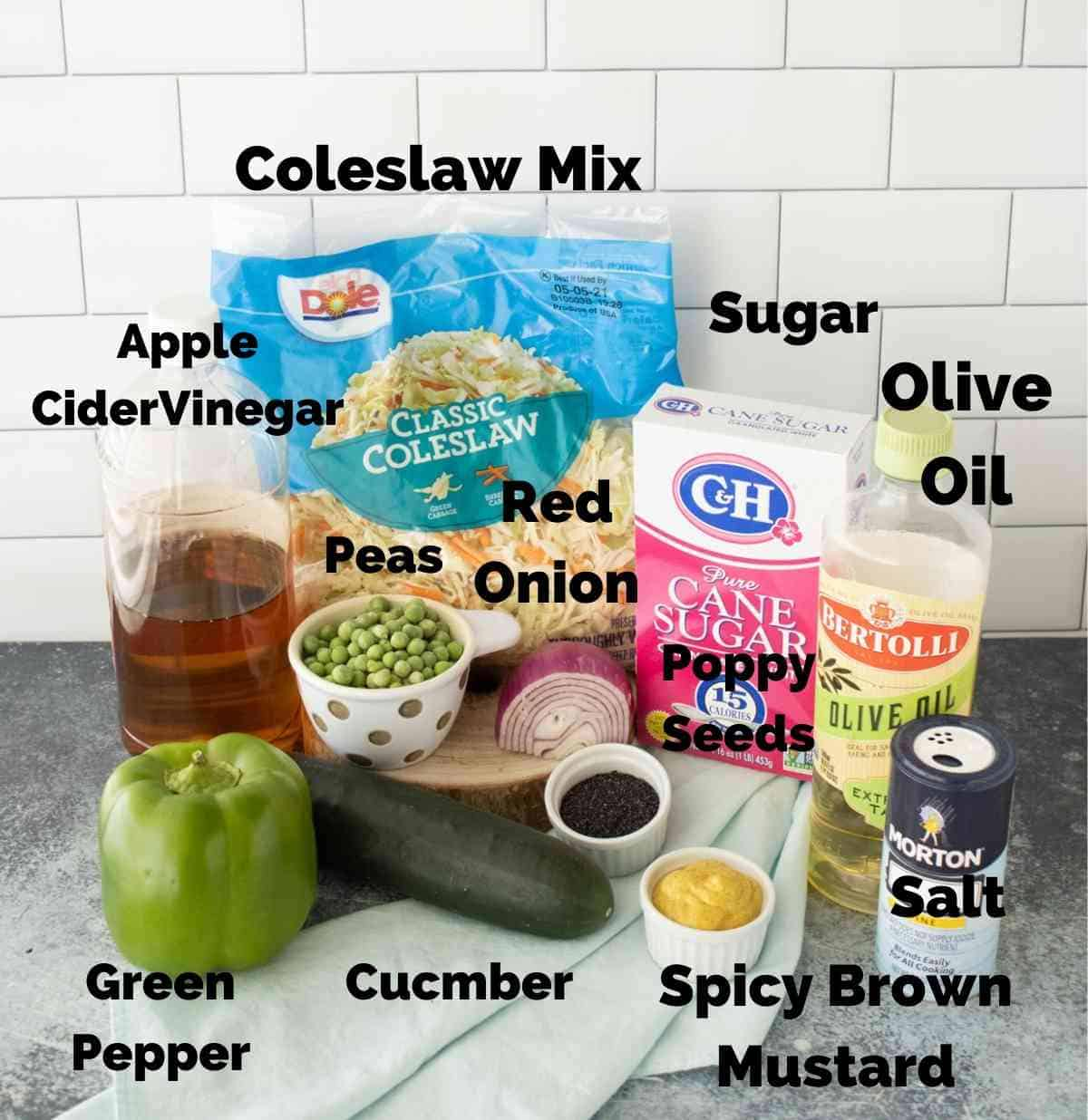 Ingredients for poppy seed coleslaw.