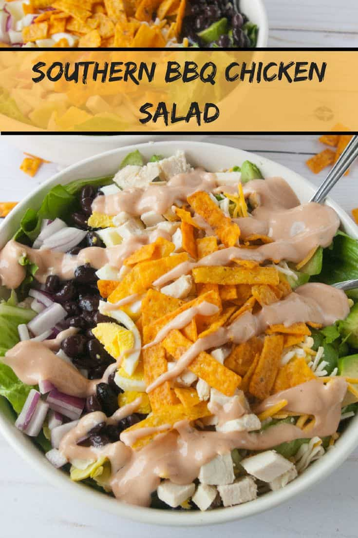Southern BBQ Chicken Salad-Keep your kitchen cool and get dinner on the table quick with this hunger satisfying southern BBQ chicken salad with BBQ ranch dressing!