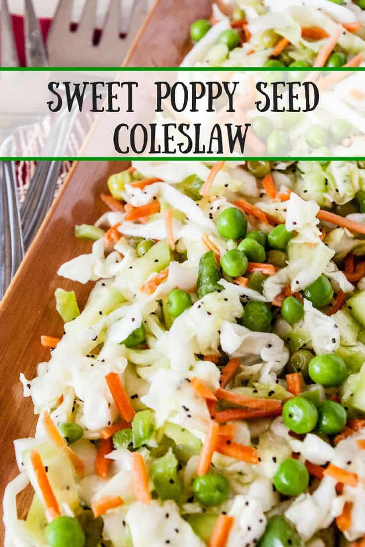 Sweet Poppy Seed Coleslaw- Need a quick salad or side to share at the barbecue?  Try my Sweet Poppy Seed Coleslaw!  Quick, easy and refreshingly delicious!