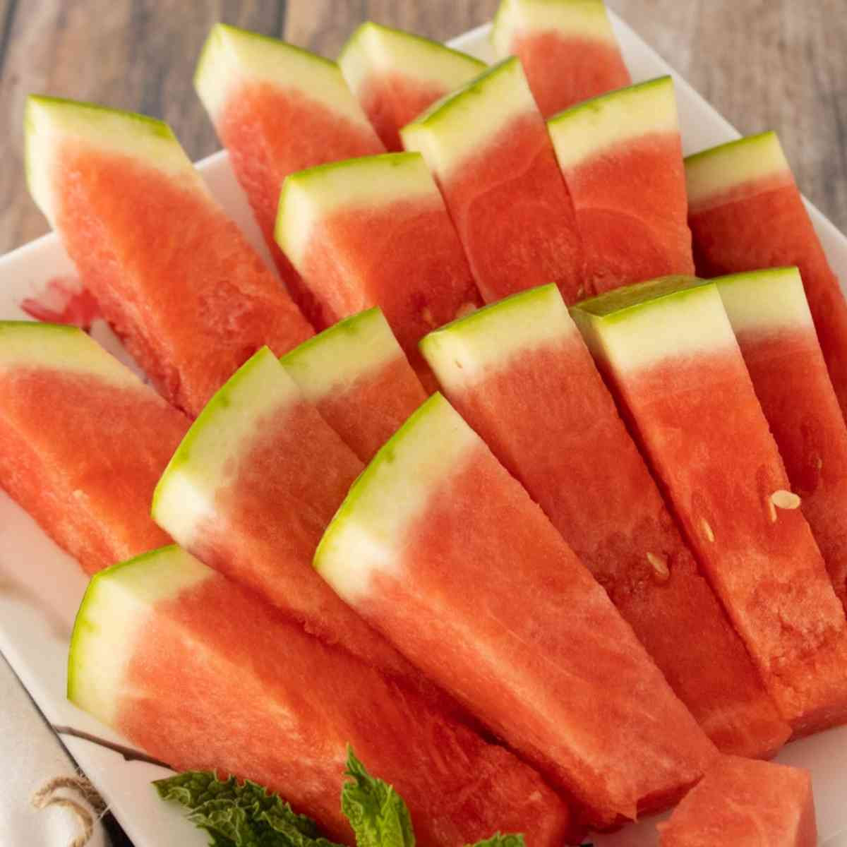 Watermelon sticks arranged for a picnic or party.