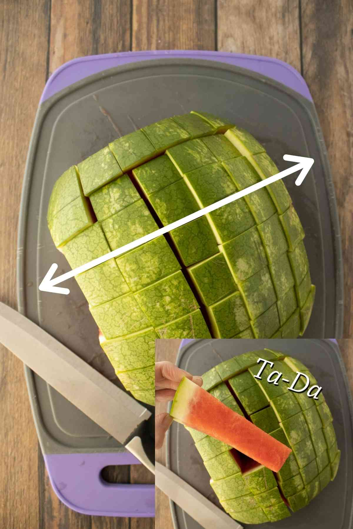 Turn the melon and cut into slices that are perpendicular to the original slices.