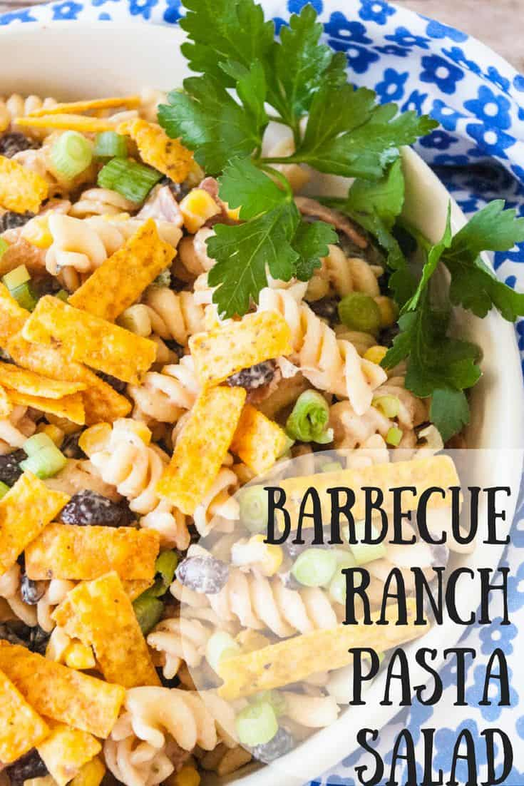 Barbecue Ranch Pasta Salad- A new twist on a classic favorite! This barbecue ranch pasta salad is simple but it's amazing flavor and crunch with knock your socks off!