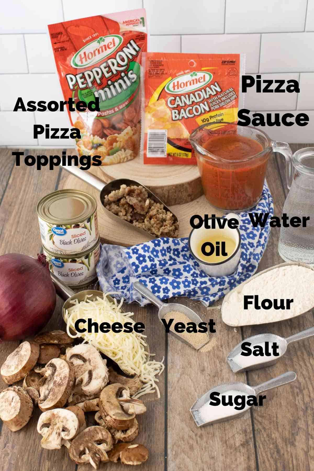 Ingredients needed for these pizza rolls.