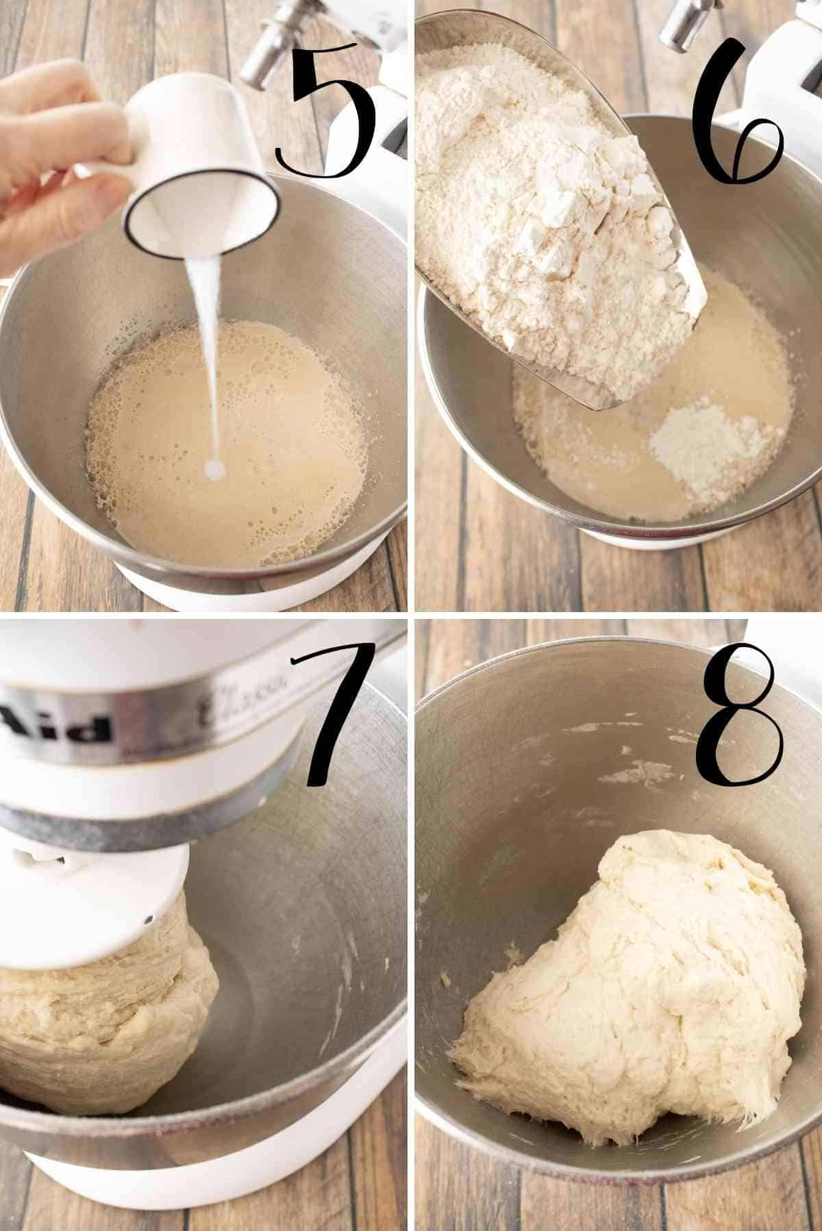 Salt and flour added to make a dough to let rise.