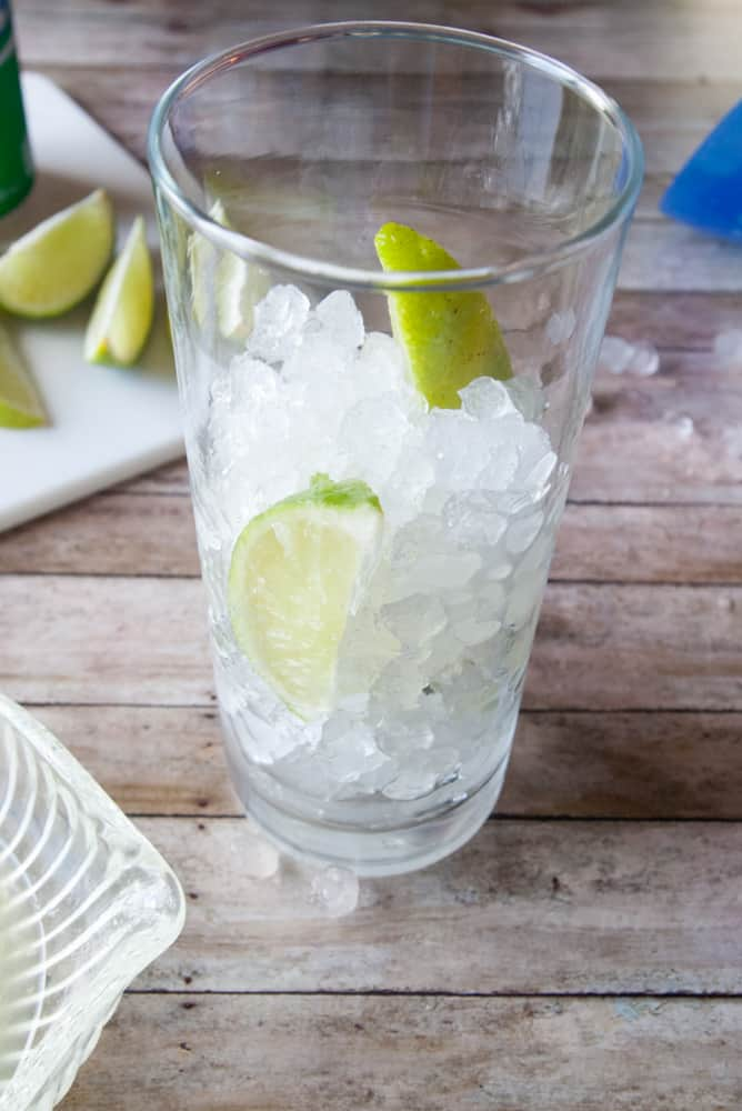 Nugget Ice and Limes in a glass.