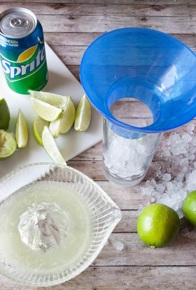Ingredients for Copycat Fresh Lime soda.
