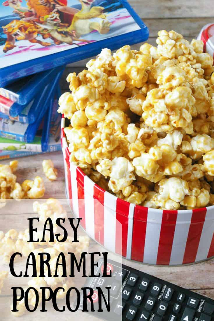 Pinnable image 3 for easy caramel popcorn
