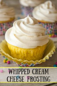 Whipped Cream Cheese Frosting pinnable image.
