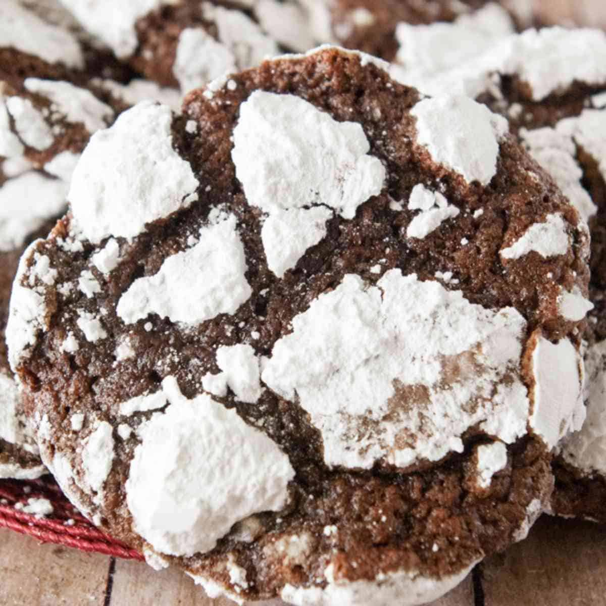 Chocolate crinkle or crackle cookie rolled with powdered sugar.