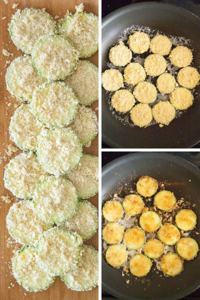 Collage of steps to make fried zucchini