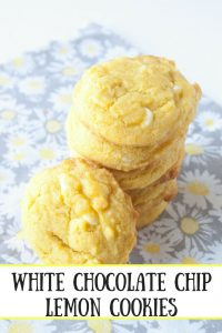 White Chocolate Chip Lemon Cookies pinnable image
