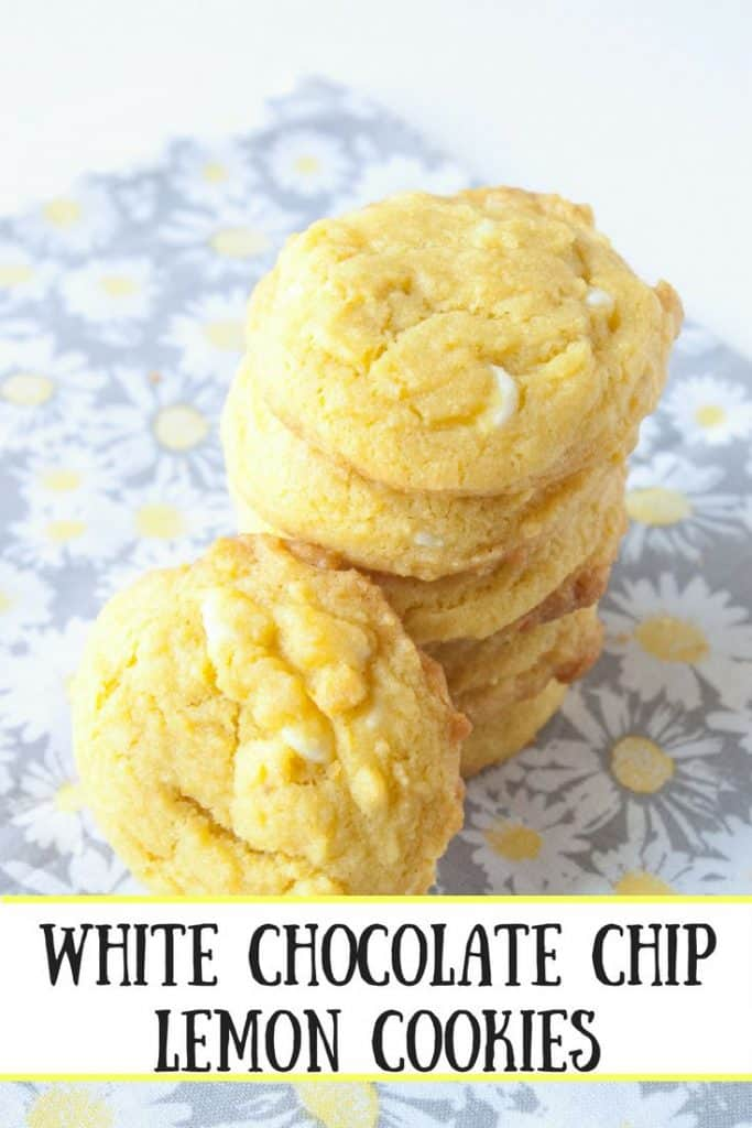 White Chocolate Chip Lemon Cookies pinnable image