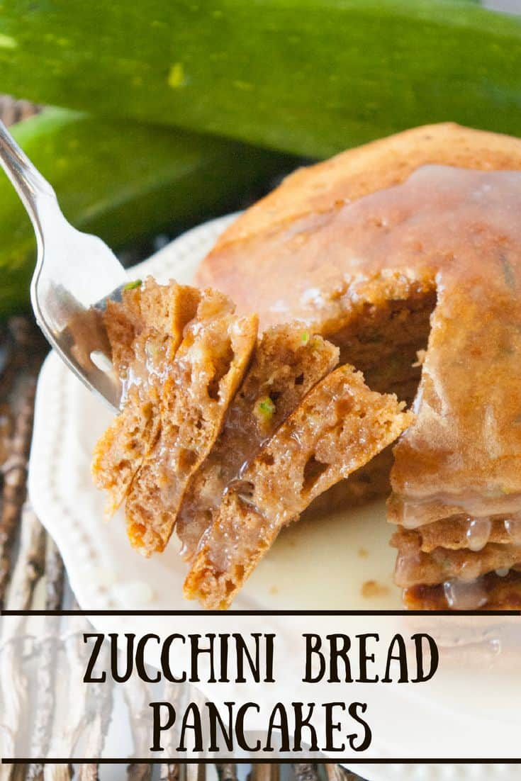 Zucchini Bread Pancakes- Wondering what to do with all that zucchini in your garden?  Try these zucchini bread pancakes!  Deliciously different and fun!