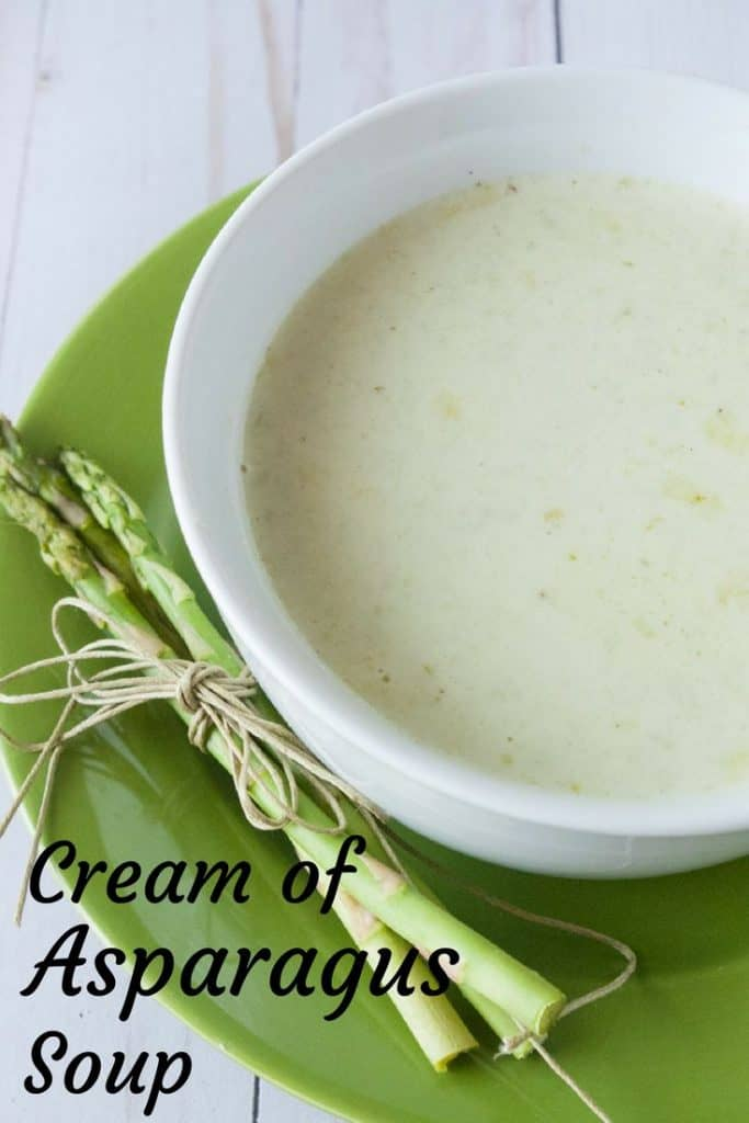 Cream of Asparagus Soup pinnable image.