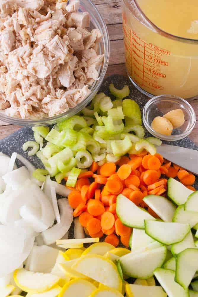 Ingredients for garden veg chicken soup.