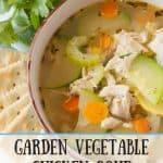 Pinnable image 1 for garden veg chicken soup.