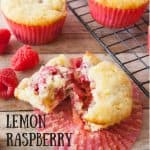 Lemon Raspberry Zucchini Muffins pinnable image.