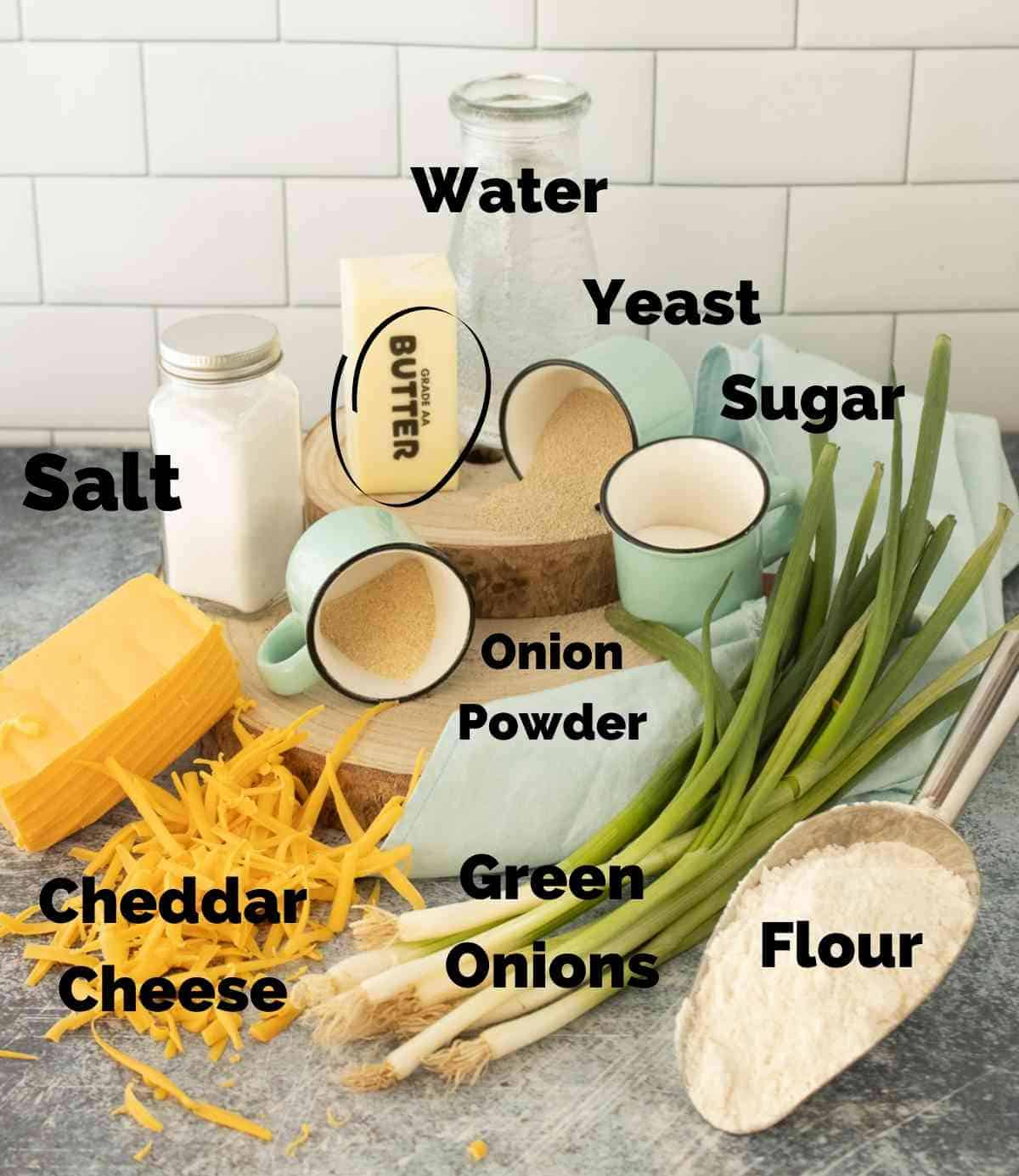 Ingredients for these onion cheese rolls