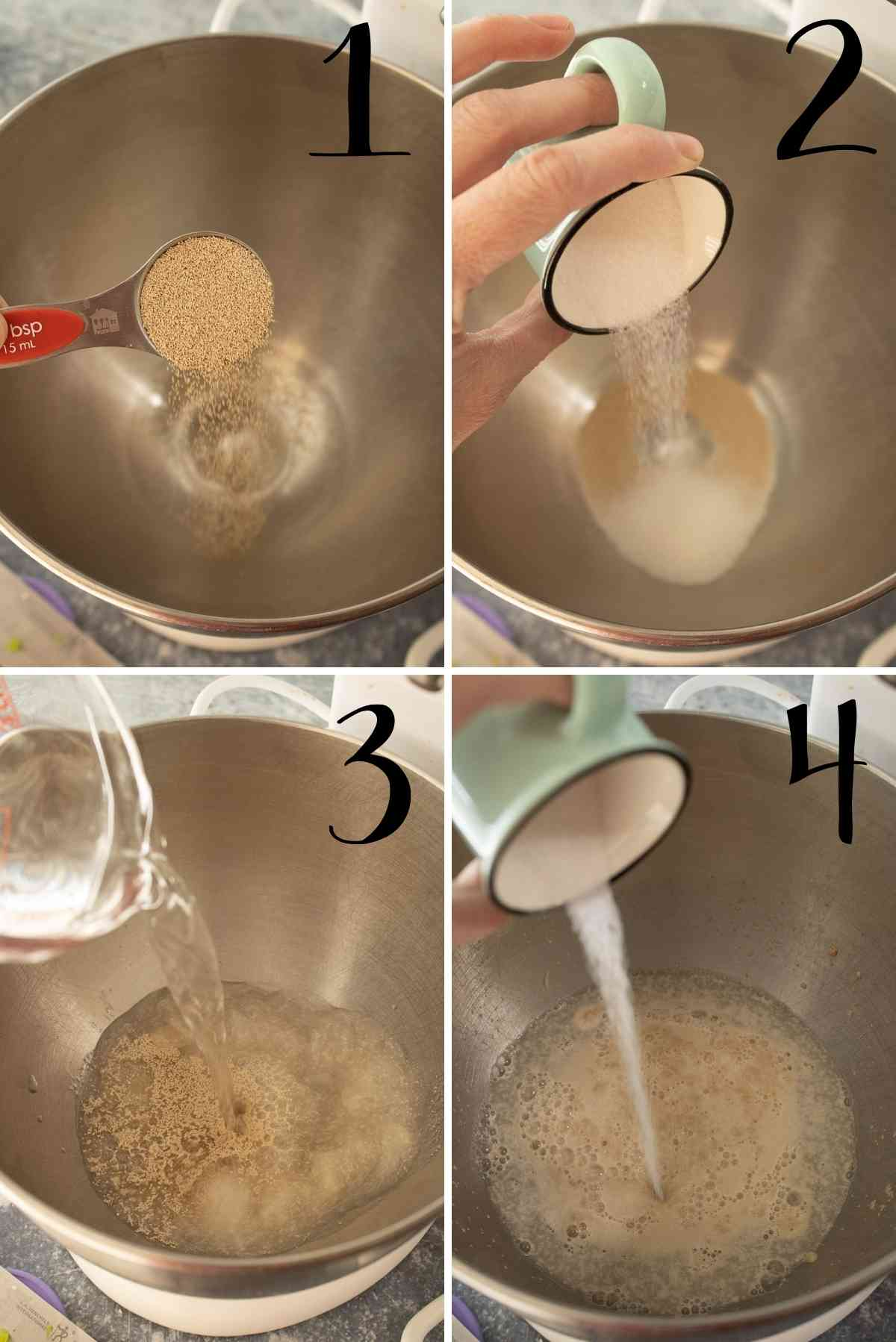 Yeast, sugar and water combined to activate.