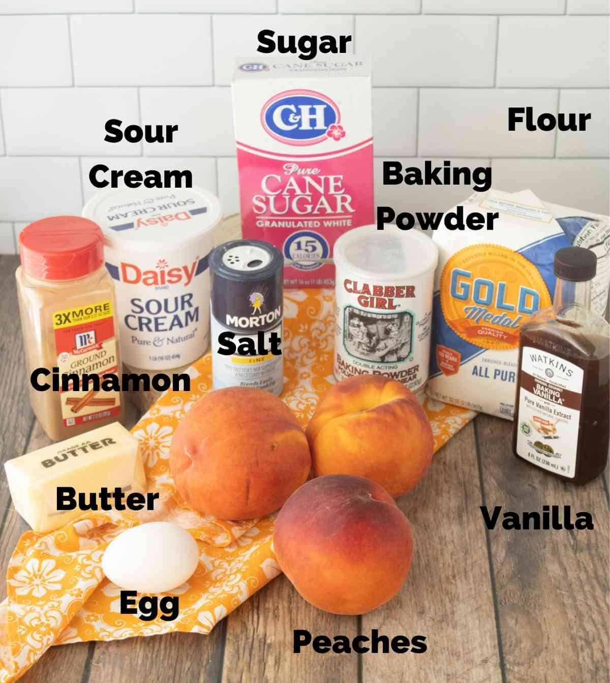 Ingredients for this peach pie.
